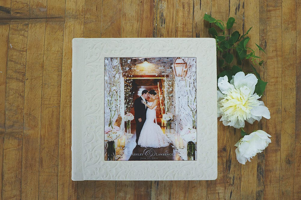FloralEmbossed Leather Album in Ivory